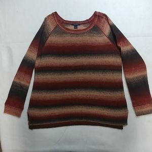 Westbound Earthtoned striped Pullover Ragland L